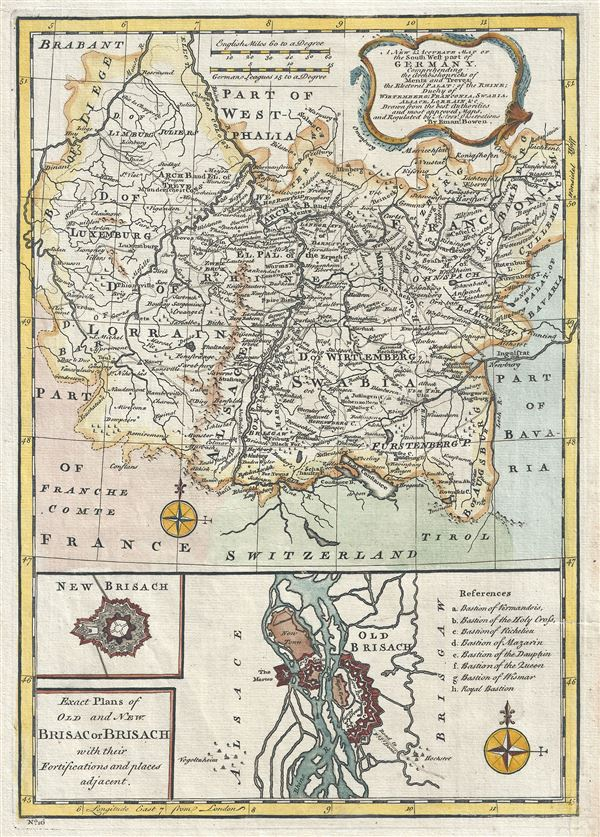 A New and Accurate Map of the South West part of Germany. Comprehending the Archbishoprics of Mentz and Treves, the Electoral Palat, of the Rhine, Duchy of Wirtemberg, Franconia, Swabia, Alsace, Lorrain etc.�