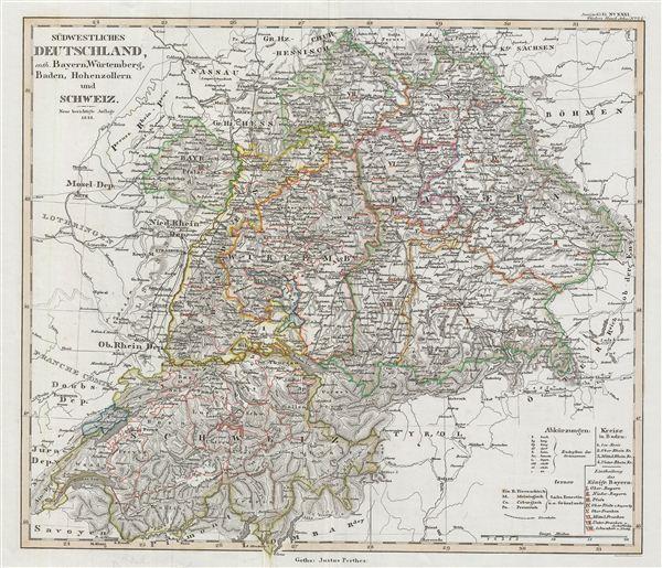 Südwestliches Deutschland, enth. Bayern, Würtemberg, Baden, Hohenzollern und Schweiz.