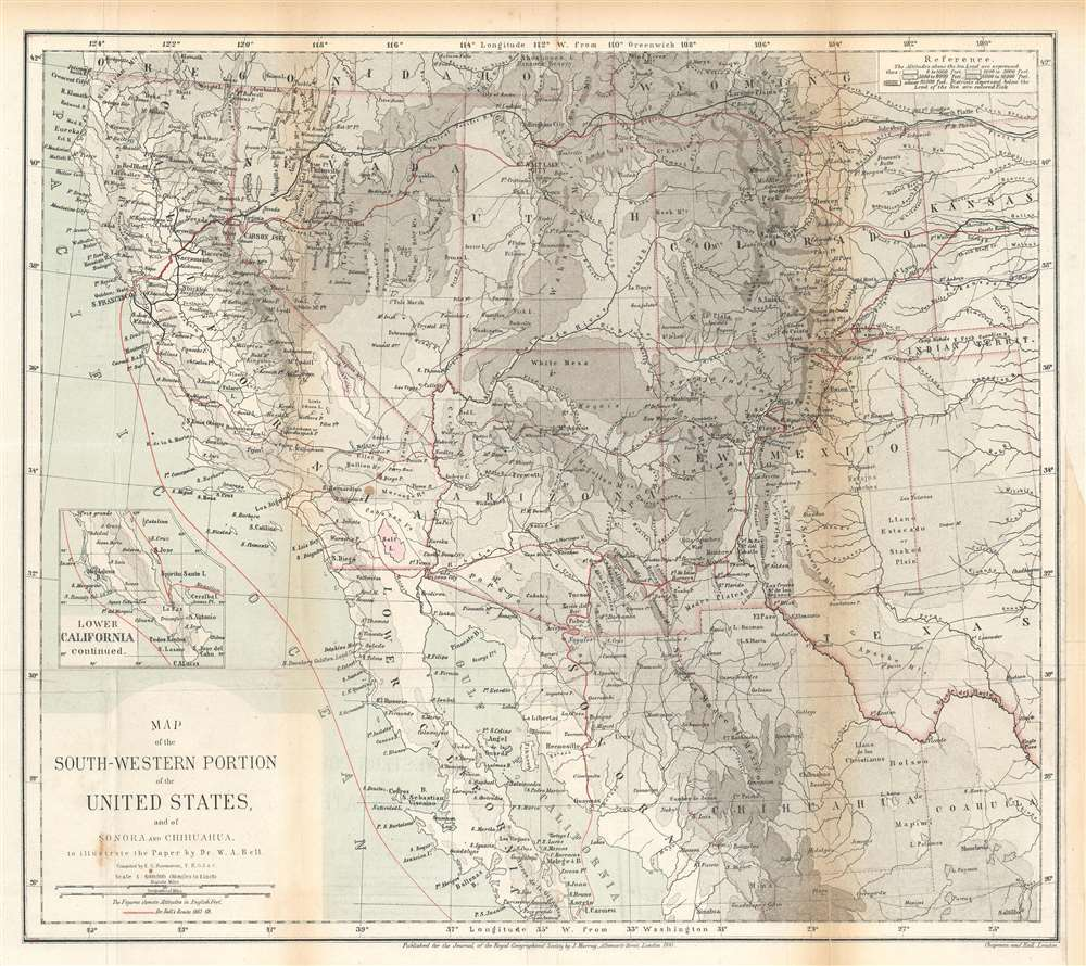 Map of the Southwestern Portion of the United States, and of Sonora and Chihuahua. - Main View