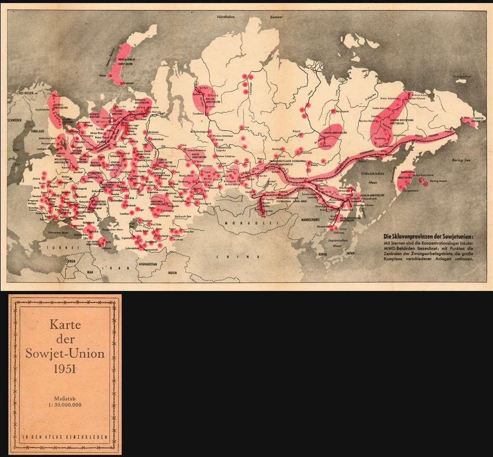 Die Sklavenprovinzen der Sowjetunion: Mit Sternen die Konzentrationdlager lokaler MWD-Behörden bezeichnet; mit Punkten die Zentralen der Zwangsarbeitsgebiete, die grosse Komplexe verschiedener Anlagen umfassen.