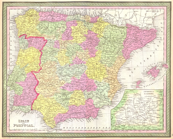 1850 Mitchell Map of Spain and Portugal