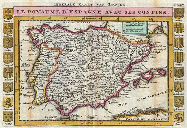 Generale Kaart van Spanjen. / Le Royaume D'Espagne avec ses Confins.