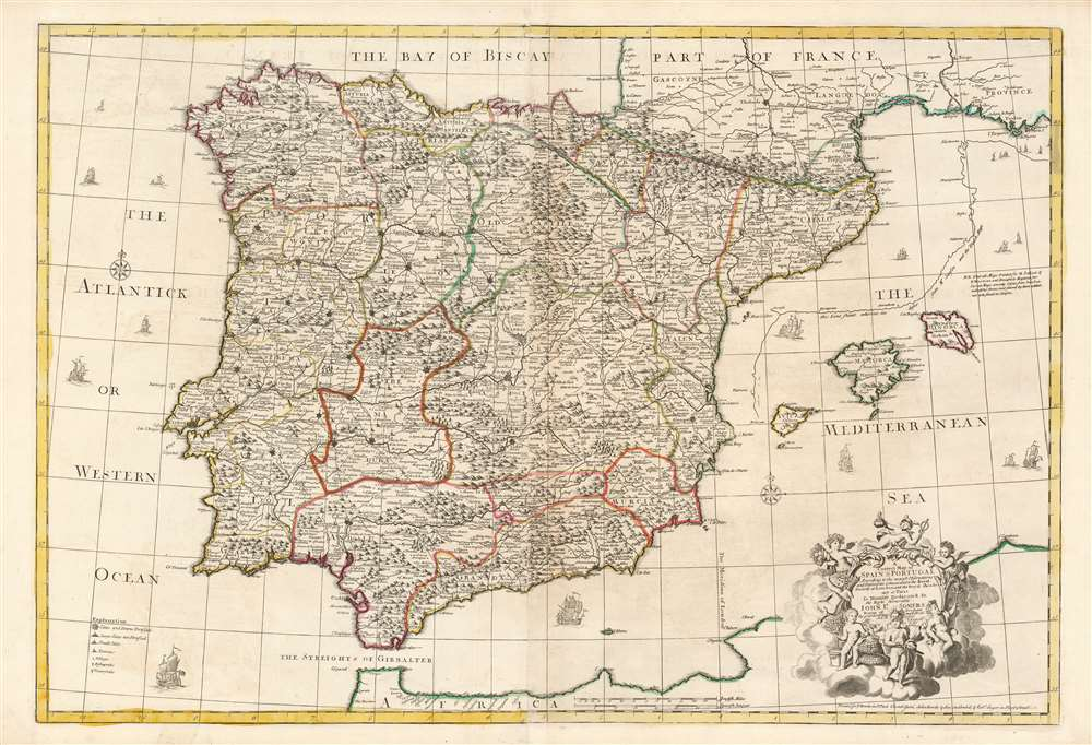 A Correct Map of Spain and Portugal According to the newest observations and discoveries comunicated to the Royal Society at London and the Royal Academy at Paris. - Main View