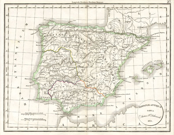 Delamarche's Map of Spain and Portugal under the Roman Empire.