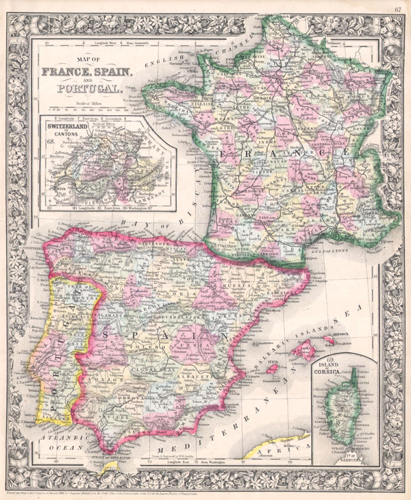 Map of France, Spain, and Portugal.