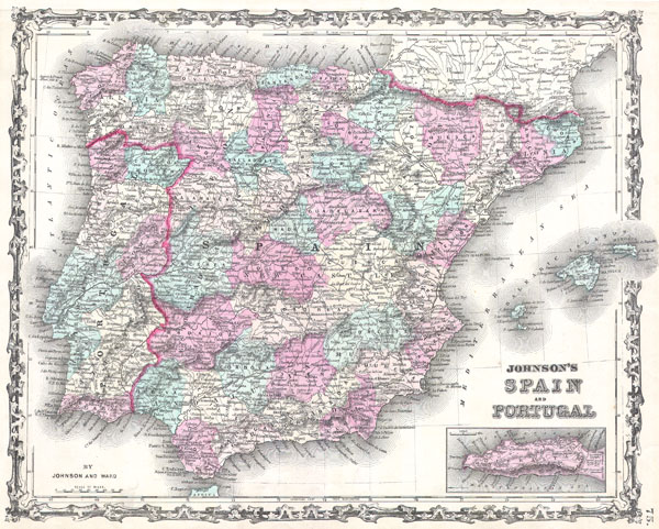 1862 Johnson Map of Spain and Portugal