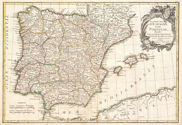 1775 Janvier Map of Spain and Portugal