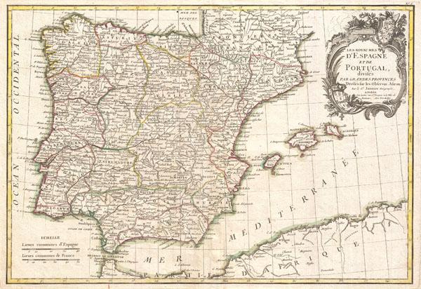 Les Royaumes d'Espagne et de Portugal, divisee par Grandes Provinces.