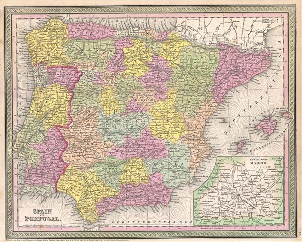1854 Mitchell Map of Spain and Portugal