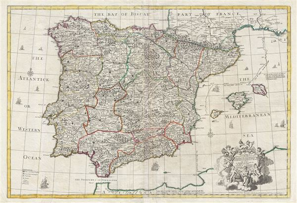 A correct map of Spain and Portugal : according to the newest observations and discoveries communicated to the Royal Society at London and the Royal Academy at Paris…