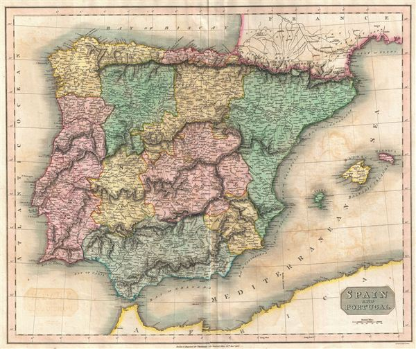 1815 Thomson Map of Spain and Portugal