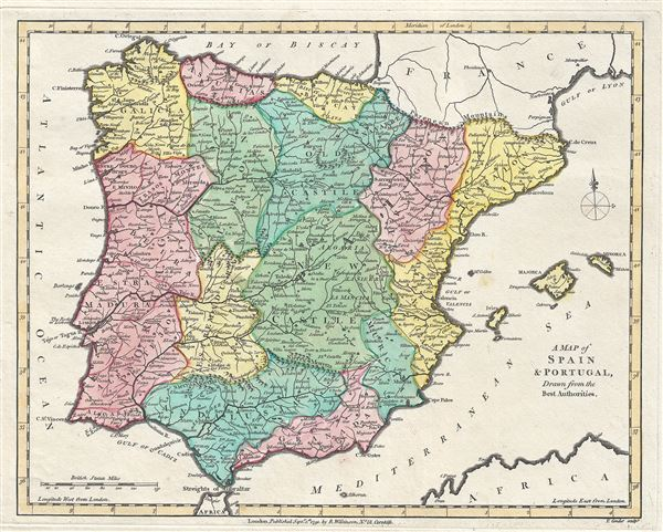 A Map Of Spain And Portugal Drawn From The Best Authorities - Robert wilkinson map of the us