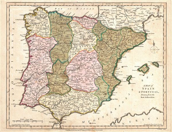 A Map of Spain and Portugal Drawn from the Best Authorities. - Main View