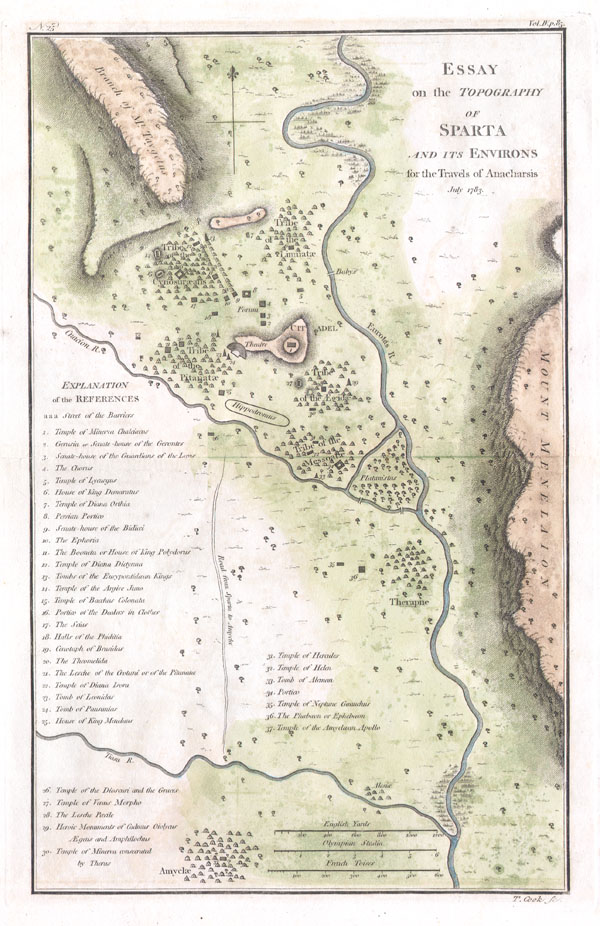 Topography Of Sparta Ancient Greece And Environs