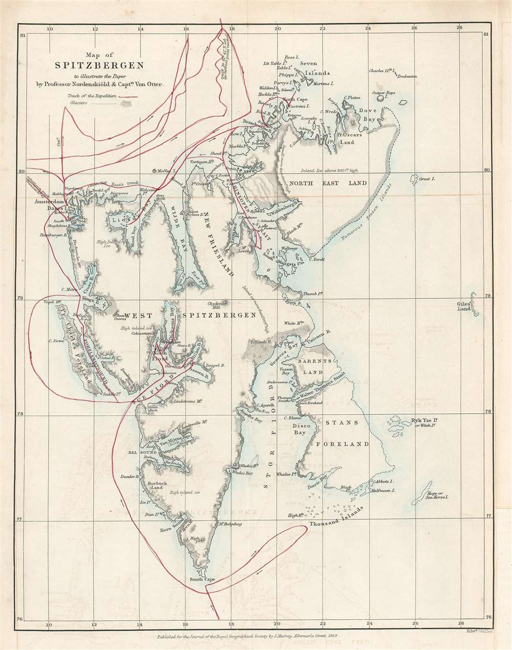 Map of Spitzbergen to illustrate the Paper by Professor Nordenskiöld and Captain Von Otter. - Main View