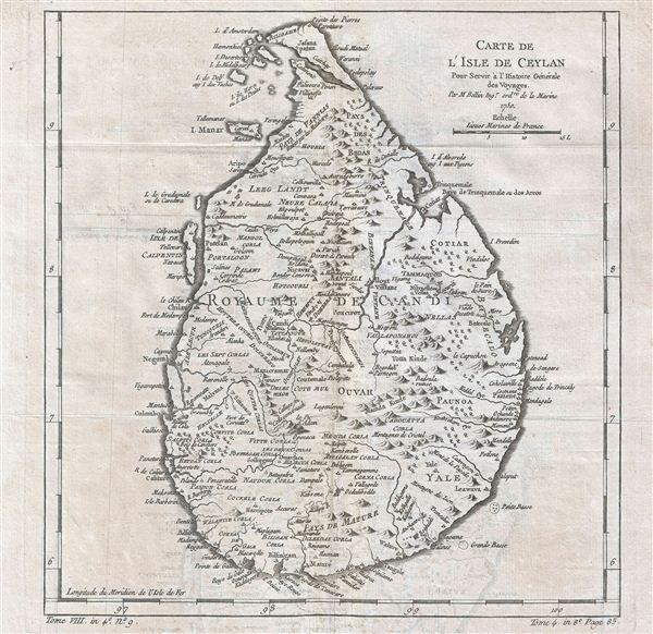 Carte de l'Isle de Ceylan Pour Servir a l'Histoire Generale des Voyages.