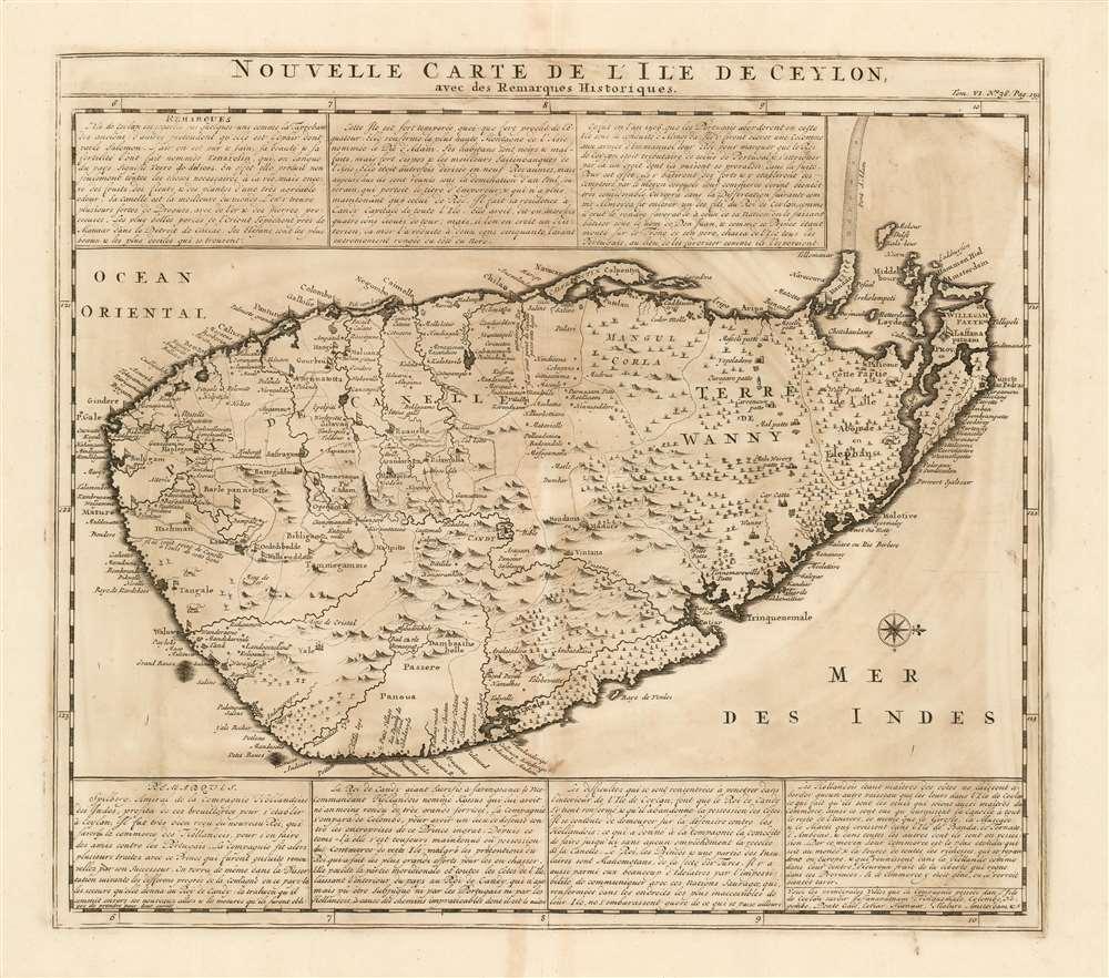 Nouvelle Carte Carte De L'Ile de Ceylon avec des remarques historiques. - Main View