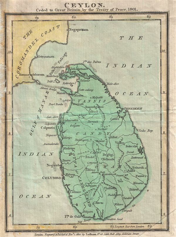Ceylon. Ceded to Great Britain by the Treaty of Pease, 1801