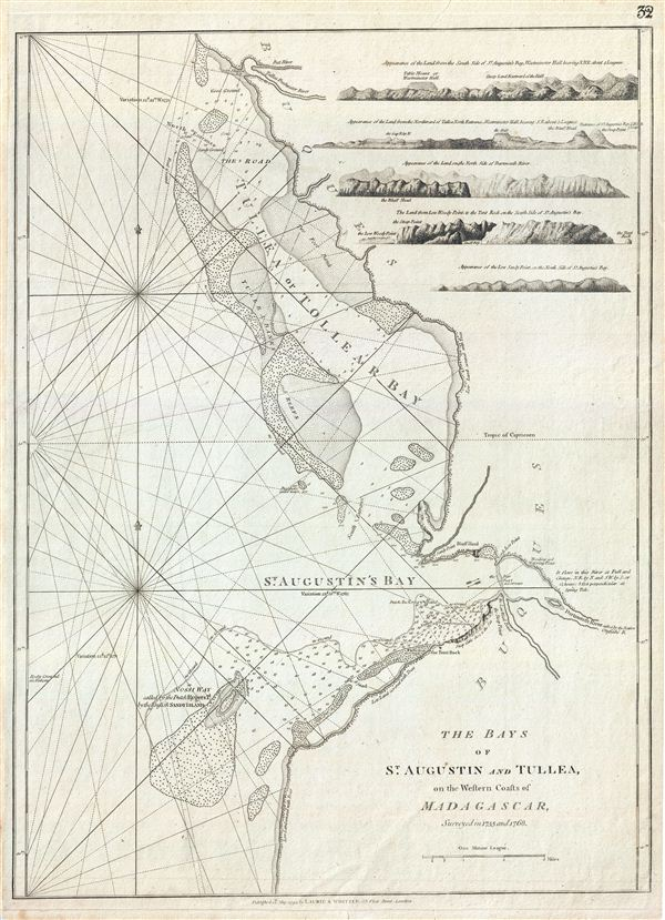 The Bays of St. Augustin and Tullea, on the Western Coast of Madagascar, surveyed in 1755 and 1768.
