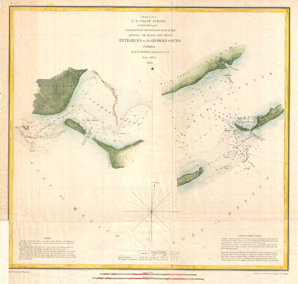 (Sketch G No. 2) Preliminary Reconnaissance  of the Middle or Main, and West Entrances to St. George's Sound, Florida. - Main View