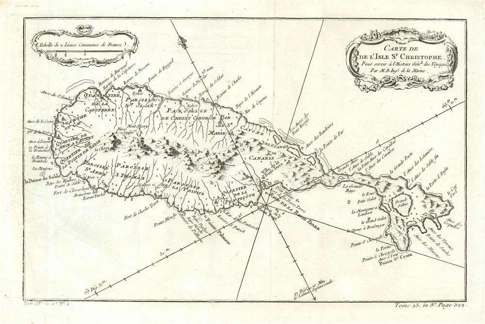 Carte De De l'Isle St. Christophe Pour servir á l'Histoire Genle. des Voyages Par M. B. Ingr. de la Marine. - Main View