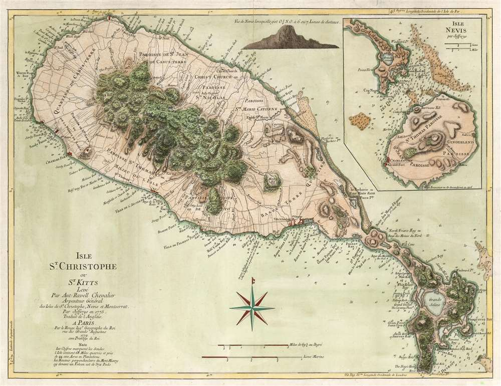 1779 Jefferys / Le Rouge Map of St. Kitts and Nevis