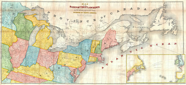 Map of the Basin of the St. Lawrence Showing also the Natural and Artifical Routes Between the Atlantic Ocean and the Interior of North America.