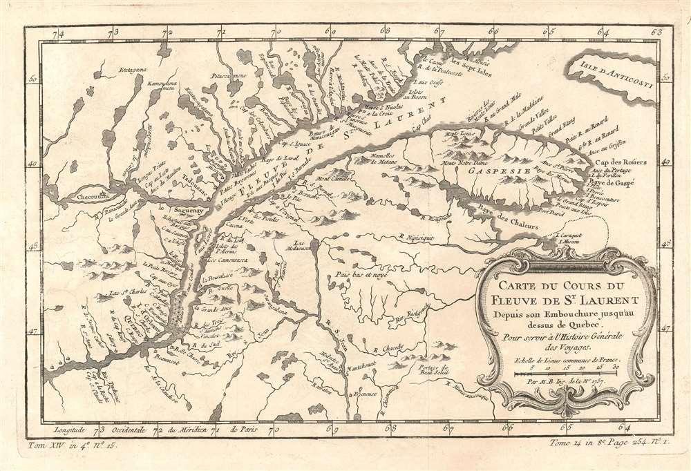 Carte du Cours du Fleuve de St. Laurent Depuis son Embouchure jusqu'au dessus de Québec.