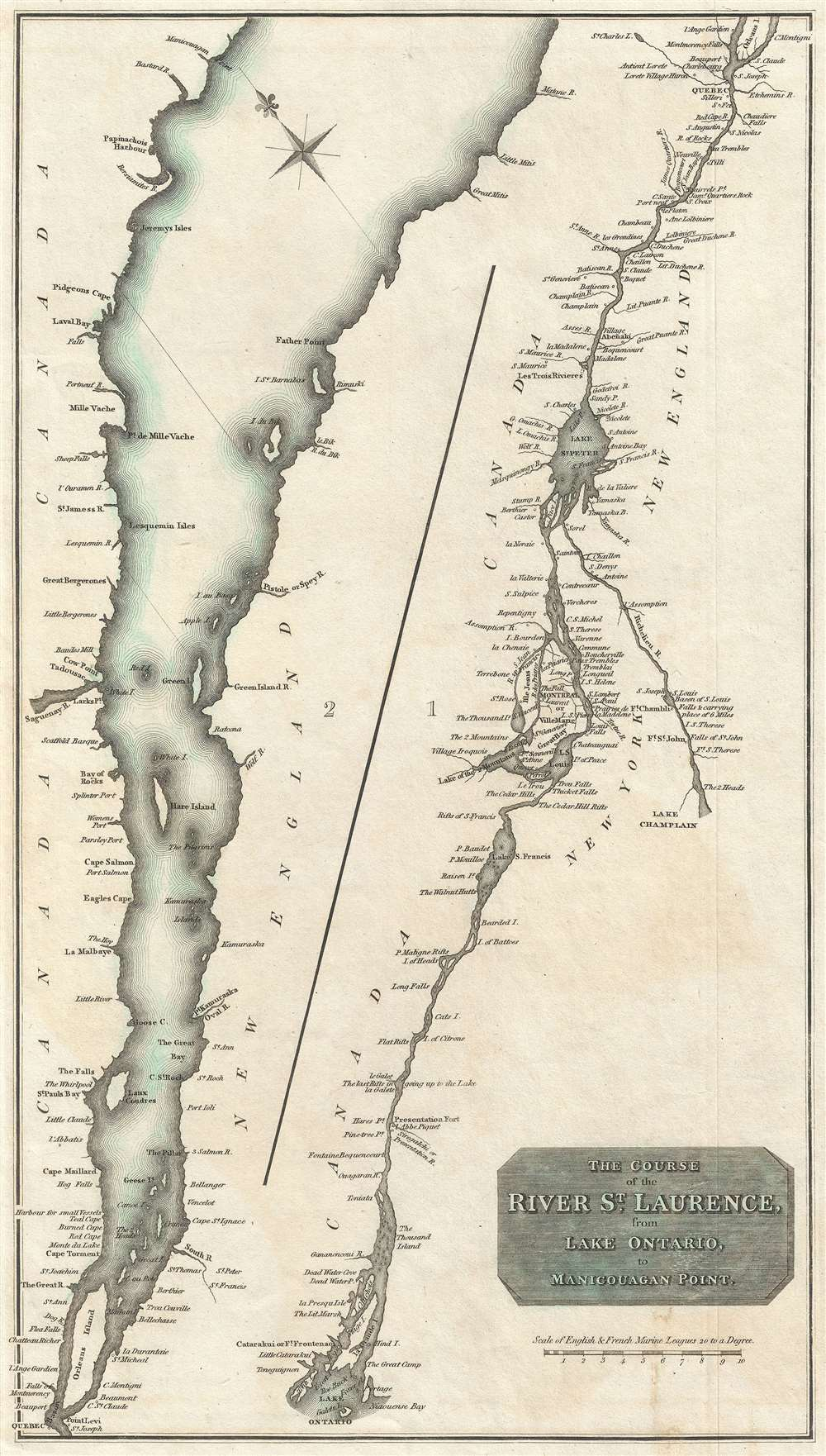 The Course of the River St. Laurence, from Lake Ontario to Manicouagan Point.
