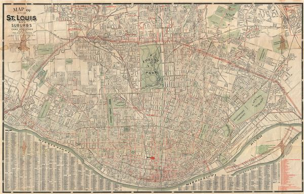 Map of City of St. Louis and Suburbs.: Geographicus Rare Antique Maps
