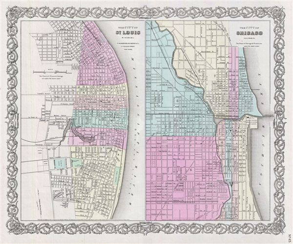 The City of St. Louis Missouri.  The City of Chicago Illinois. - Main View