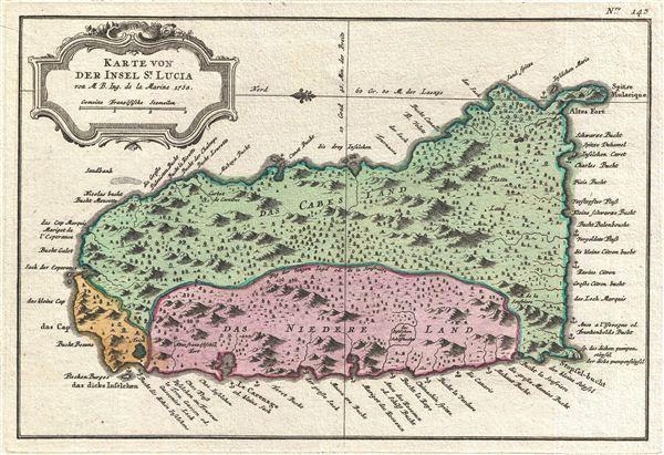 Karte von der Insel St. Lucia.
