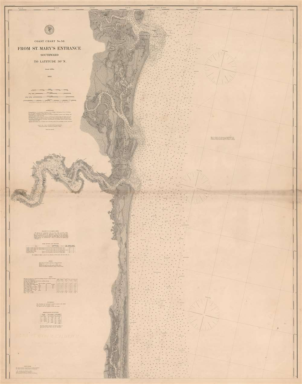 Coast Chart No. 58 From St. Mary's Entrance Southward to Latitude 30 Degrees N. - Main View