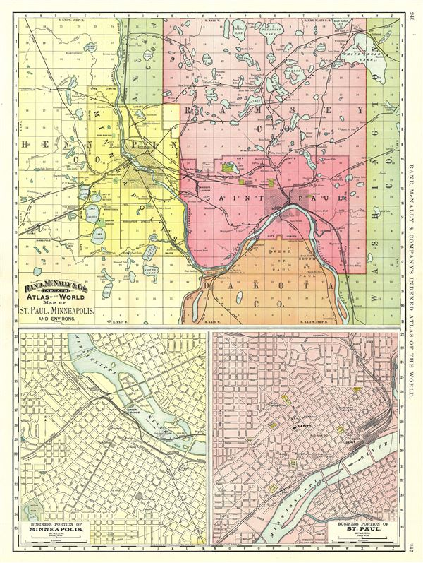 Map of St. Paul, Minneapolis, and Environs.