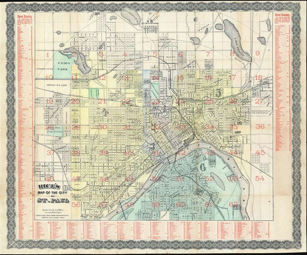 1883 Rice Map of Saint Paul, Minnesota