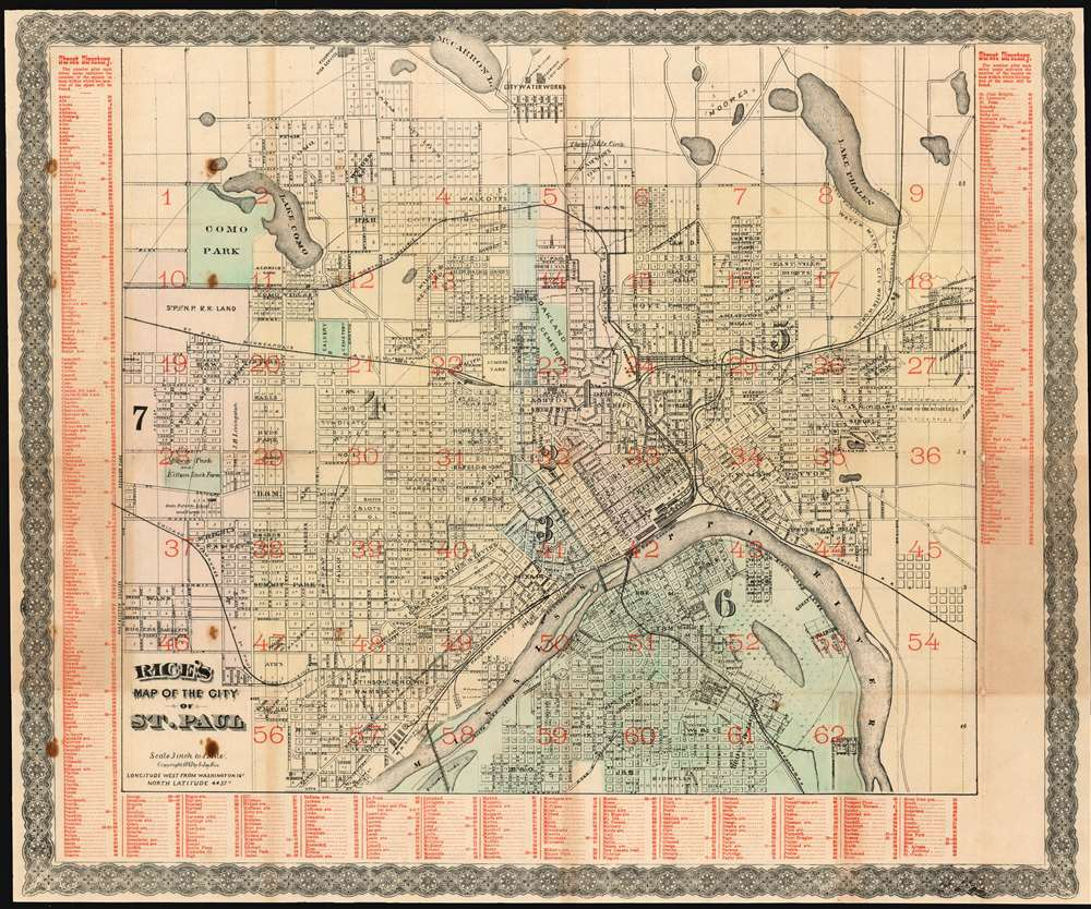 1885 Rice Map of Saint Paul, Minnesota