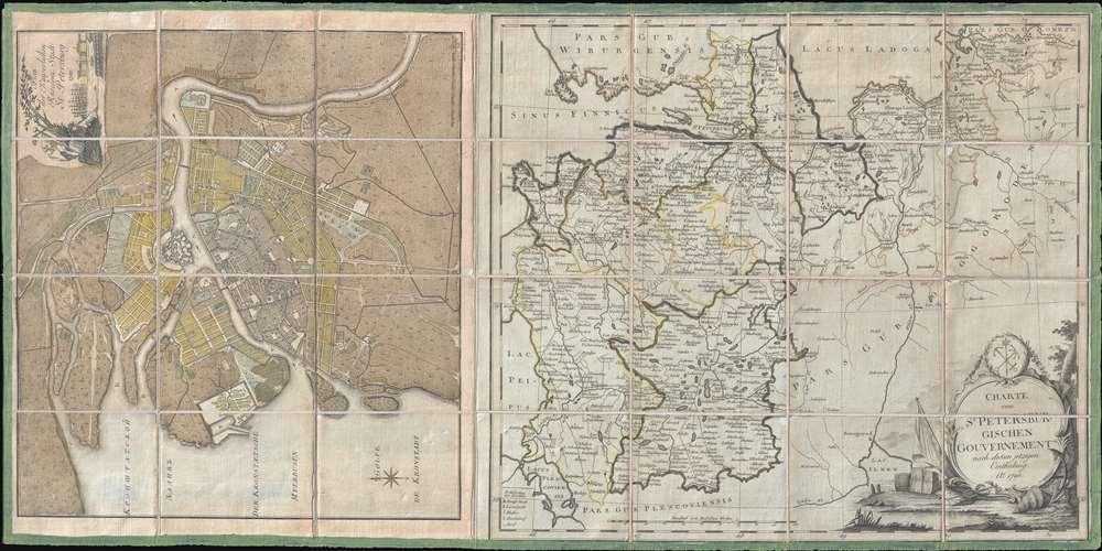 Plan der Kayserlichen Residenz Stadt St. Petersburg. / Charte vom St. Petersburgischen Gouvernement nach dessen jetzigen.