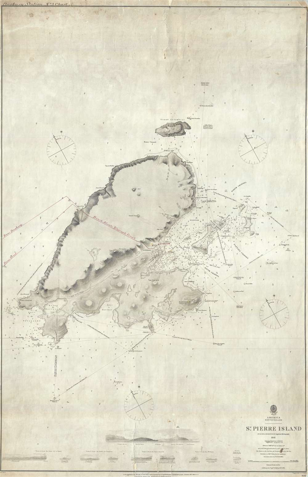 1865 Admiralty Chart of St Pierre Island (Miquelon) w/ TransAtlantic Cable