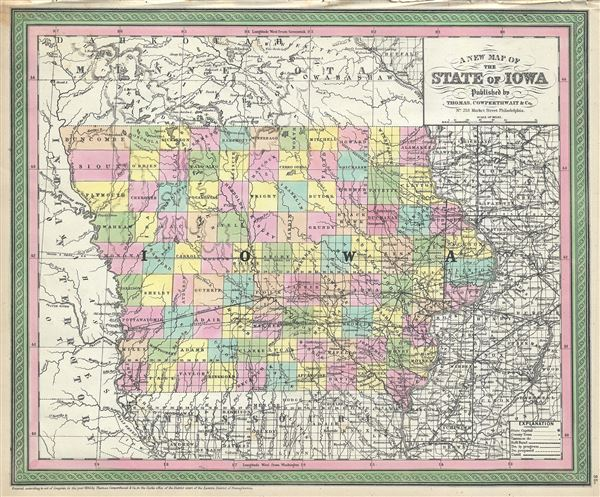 A New Map Of The State Of Iowa Geographicus Rare Antique Maps - State of iowa map