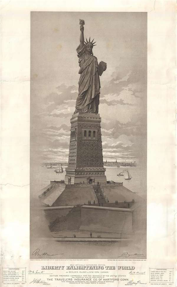 Liberty Enlightening the World on Bedloes Island in New York Harbor.