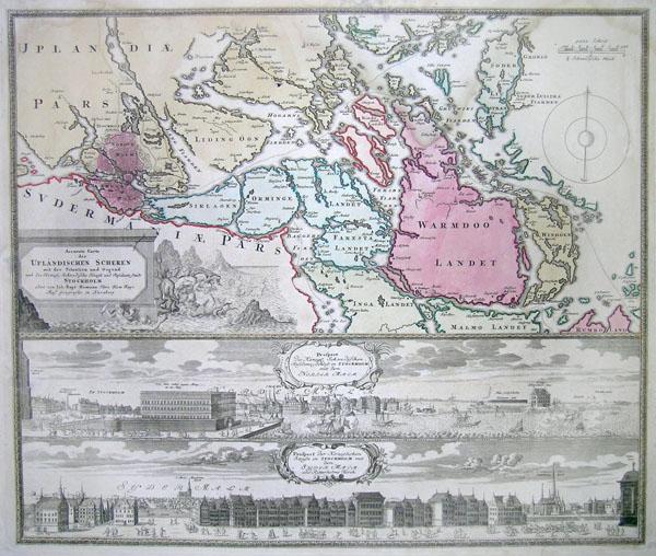 Accurate Carte der Uplandischen Scheren mit der Situation und Gegend umb die Konigle Schwedisch Haupt und Residentz Stadt Stockholm.