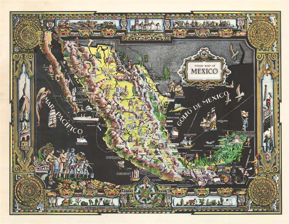 1939 Colortext Pictorial Story Map of Mexico