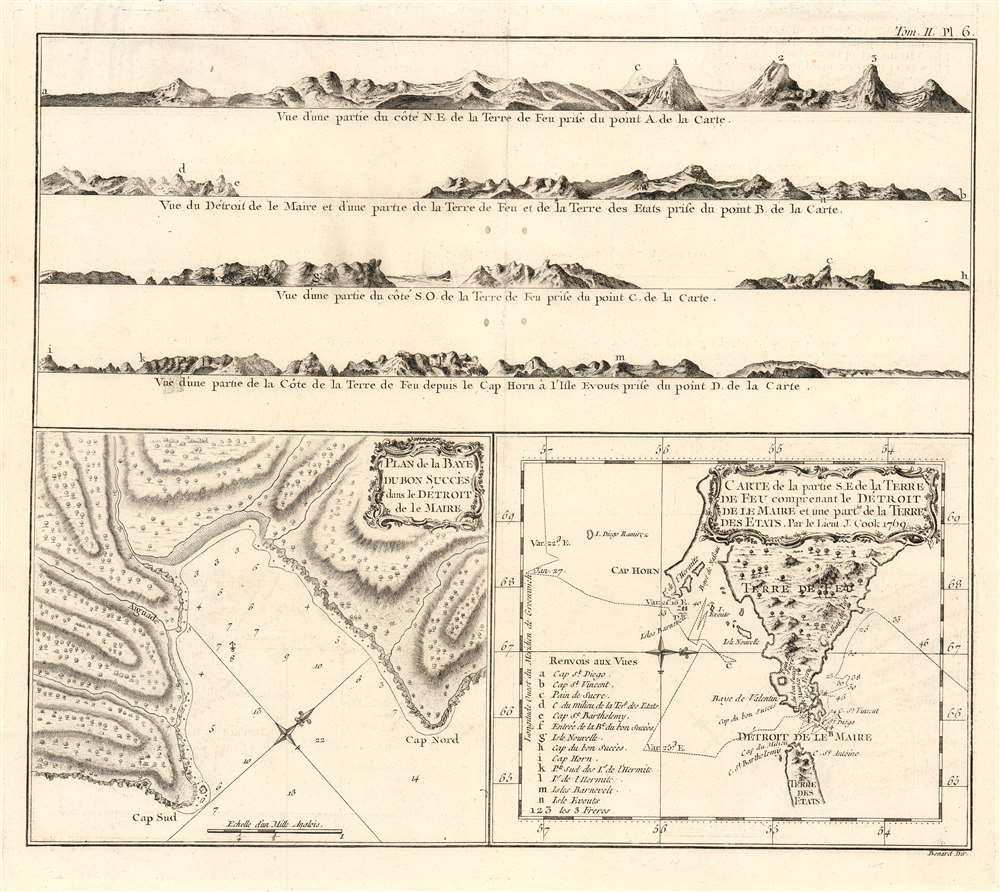 1774 Benard/ Hawkesworth Chart of the Strait of Le Maire