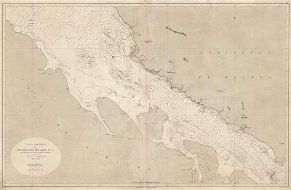 Carta Esférica de Estrecho de Malaca segun los trabajos mas modernos ingleses y holandeses.
