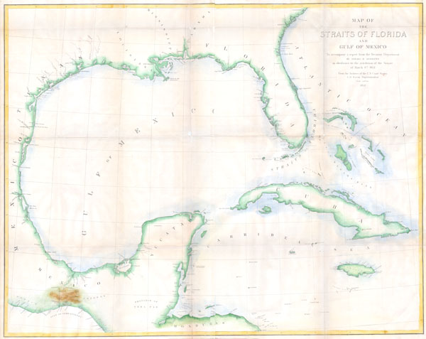 Map of the Straits of Florida and Gulf of Mexico.  To accompany a  report from the Treasury Department of Israel D. Andrews in  obedience to the resolution of the Senate of March 8th, 1851.