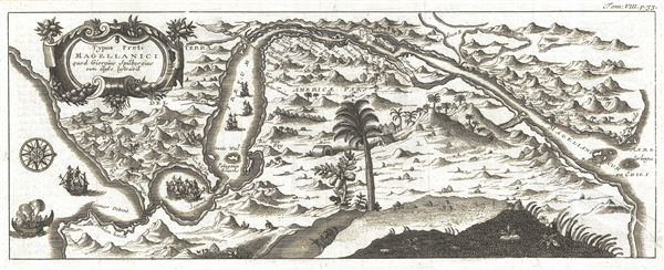 Typus Freti Magellanici quod Giorguis Spilbergius cum classe lustgravit.