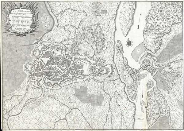 Plan de Strasbourg sa Citadelle et le Fort de Kehl avec tout les Ouvrages qui ont este construit Pendant La Paix