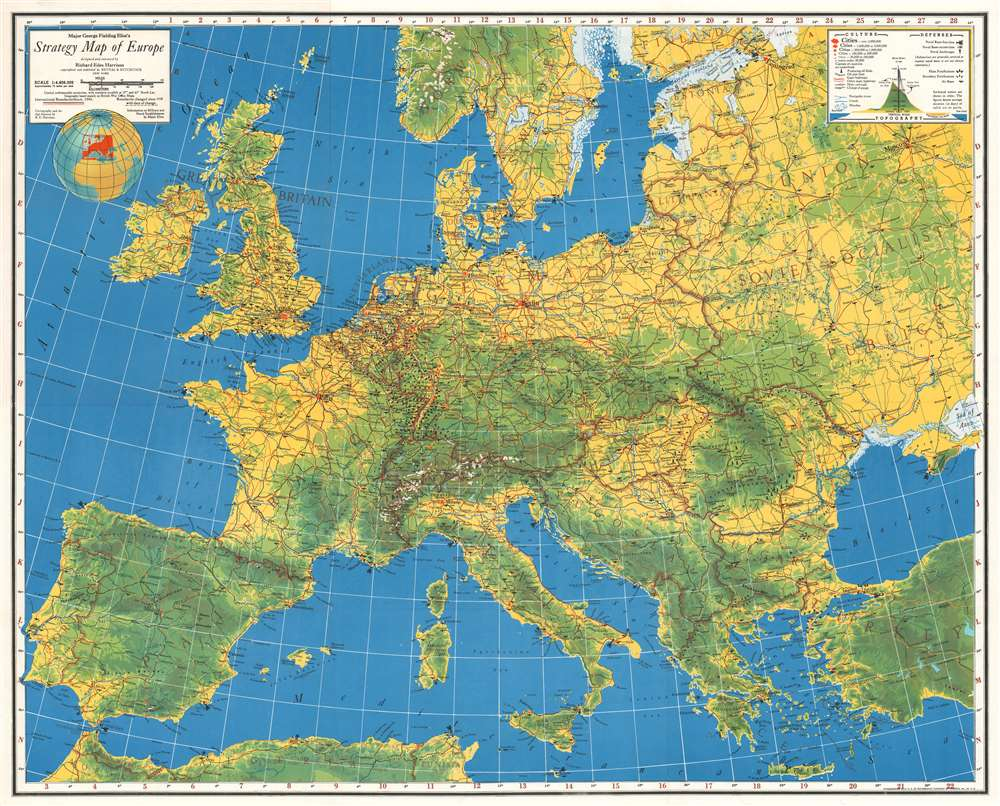 1940 Harrison Map of Europe During the 'Phoney War'