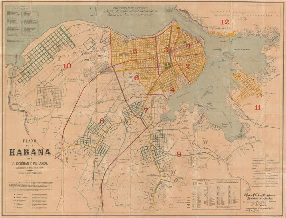 Office of Chief Engineer - City of Havana. Map Showing Street Cleaning. Districts as divided previous to March 1, 1900. Plano de la Habana por D. Estéban T. Pichardo, Agrimensor y Maestro de Obras. - Main View