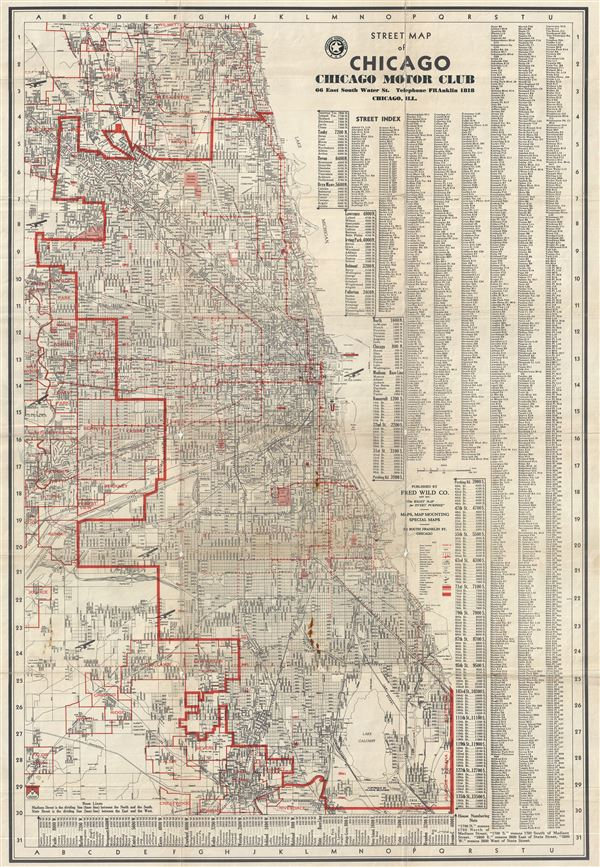 Street Map of Chicago Chicago Motor Club. - Main View